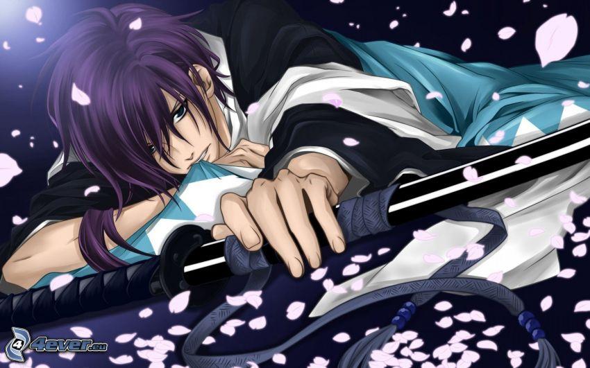 anime kille, katana, lila hår