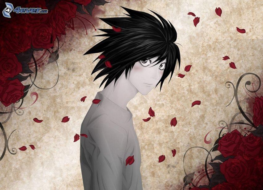 anime kille, röda rosor, rosenblad