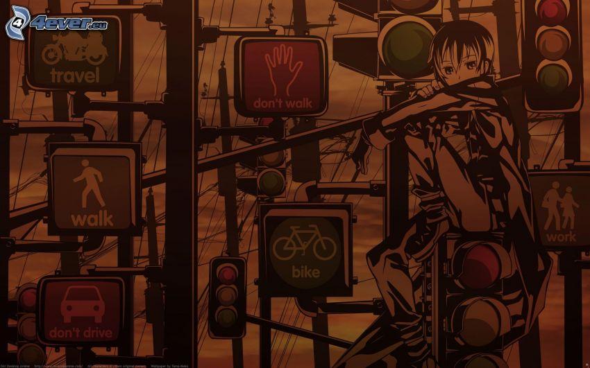 anime kille, trafikljus, skyltar