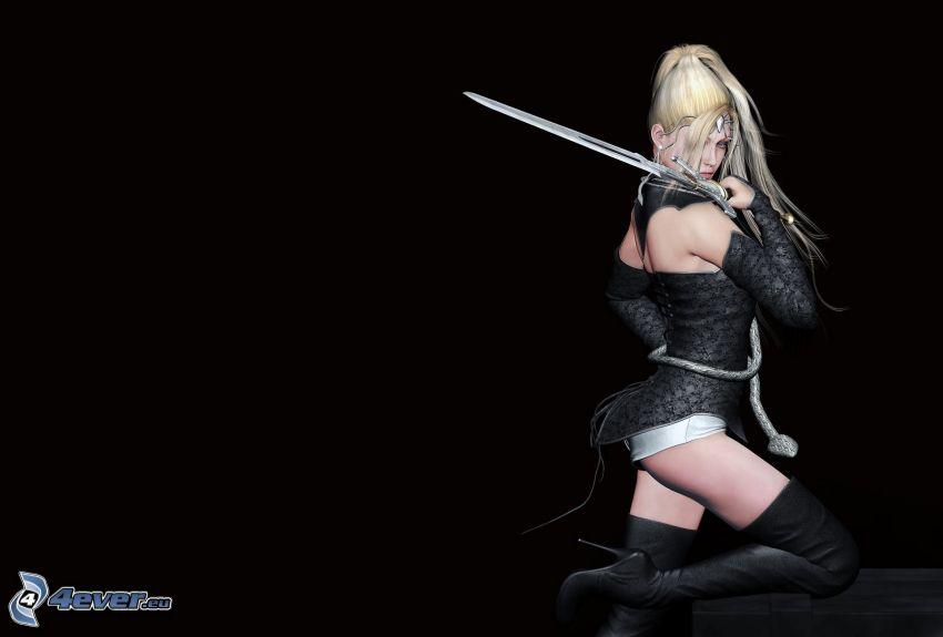 anime krigare, kvinna med svärd