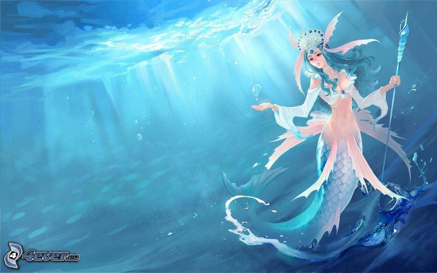 anime kvinna, hav