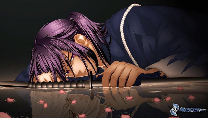 anime kvinna, svärd, lila hår