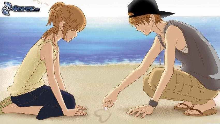 anime par, hjärta, sandstrand, hav