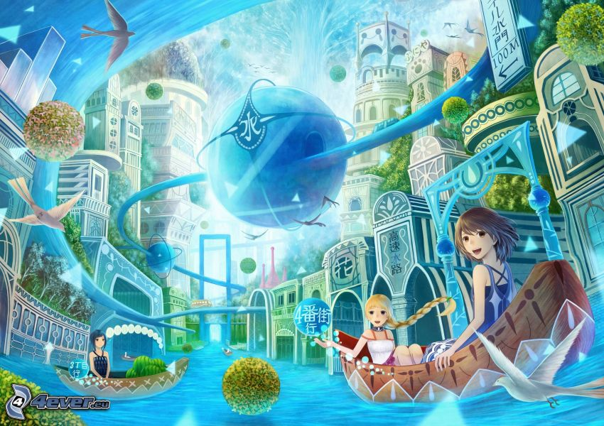 animeflickor, båt, fantasiland