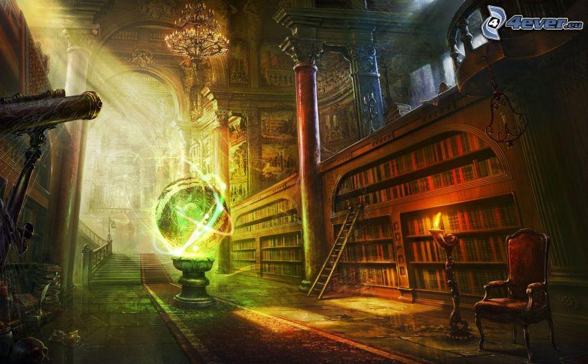 bibliotek, teleskop, fåtölj, stege, jordklot