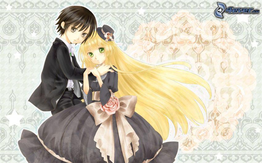 bröllop, anime figurer, nygifta, blondin