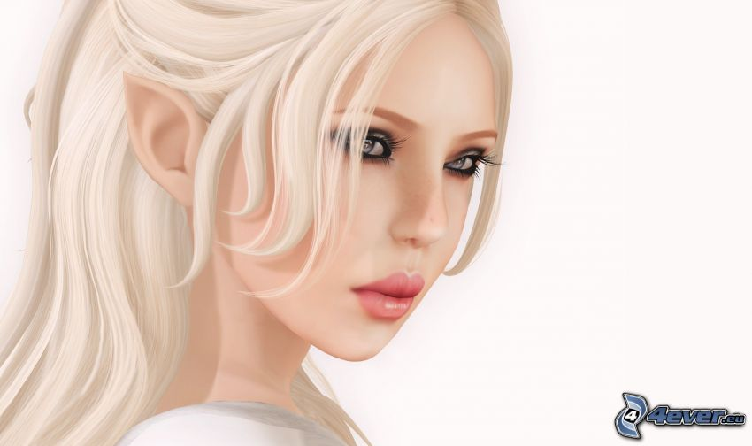 elf, tecknad kvinna, blondin