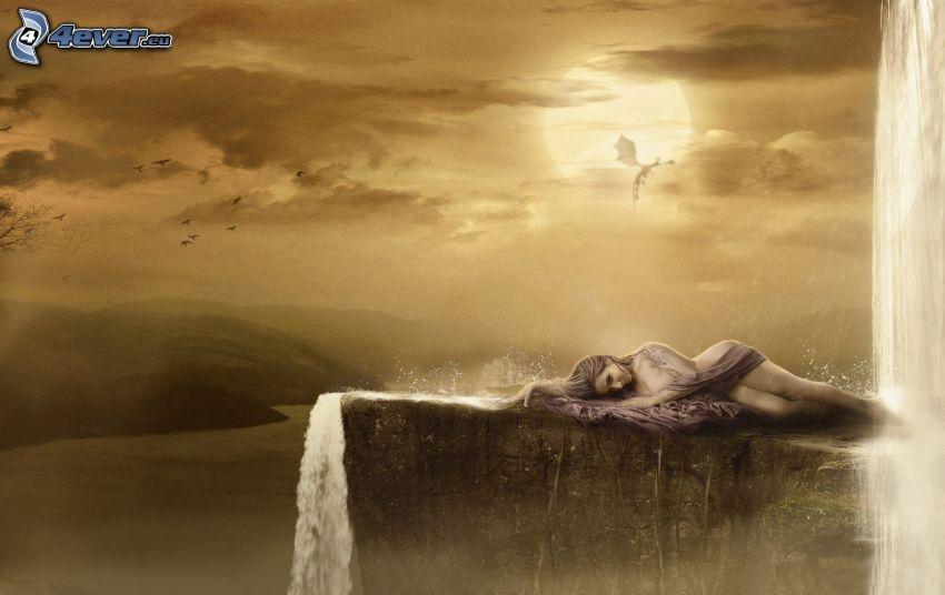 fantasy kvinna, klippa, vattenfall, sol, drake