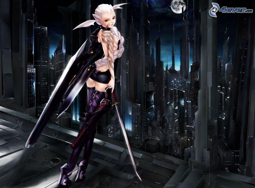 fantasy kvinna, skyskrapor