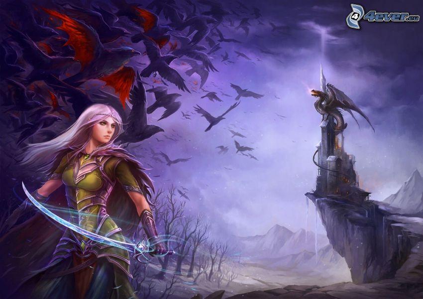 fantasy kvinna, tecknad drake, fantasy slott, fåglar