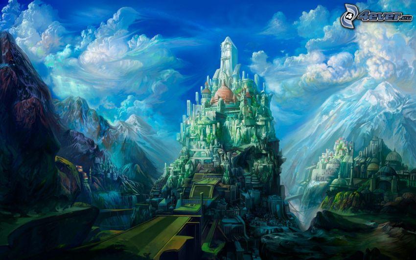 fantasy slott, höga berg