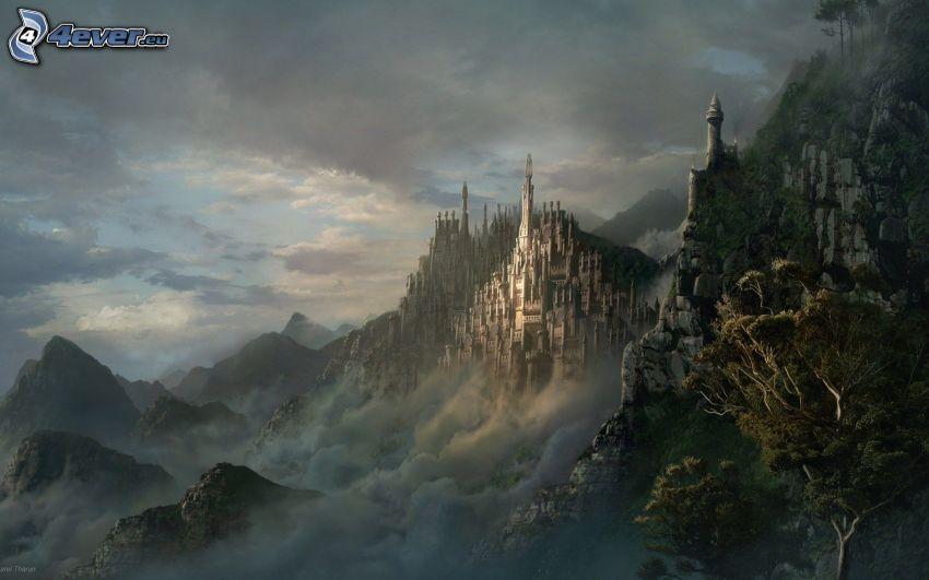 fantasy slott, landskap, dimma