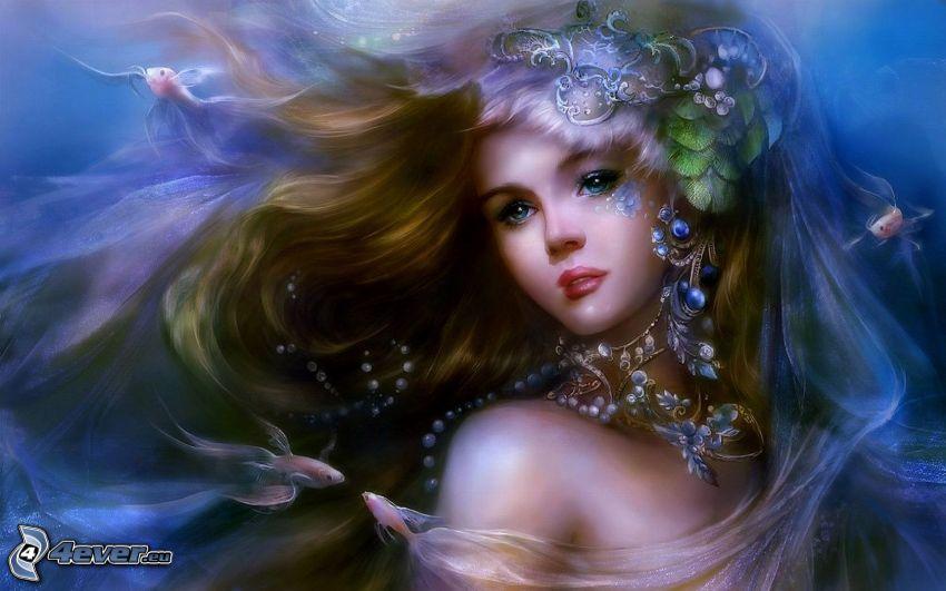 fantasy tjej, hår, accessoar