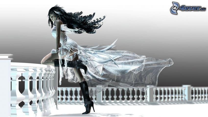 fantasy tjej, tecknad flicka, digital konst