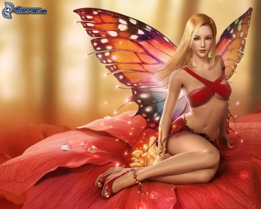 fjäril, blondin, röda underkläder