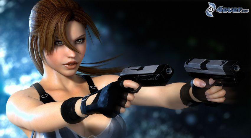 flicka med vapen, anime flicka, pistoler