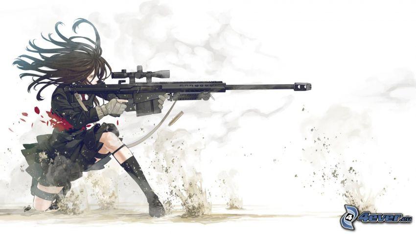flicka med vapen, tecknad flicka