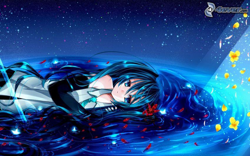 Hatsune Miku, anime flicka, blått hår