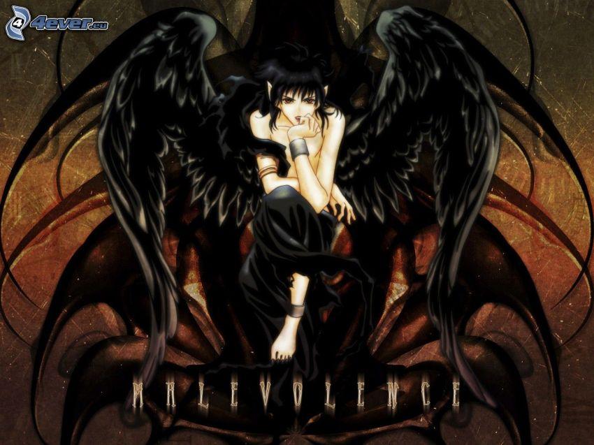 mörk ängel, anime flicka, svarta vingar
