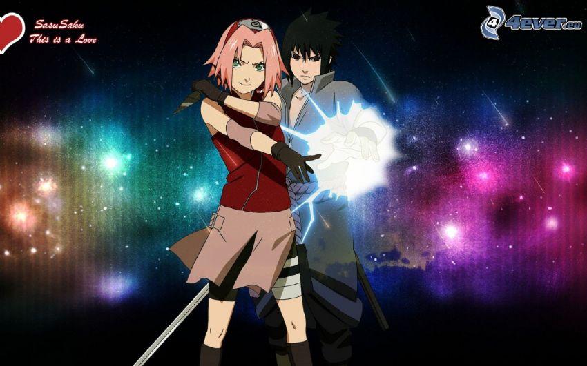 Sasuke, Sakura, anime flicka, anime kille