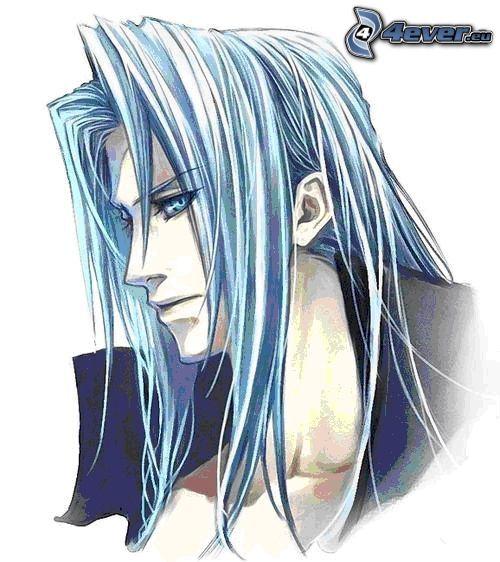 Sephiroth, teckning, turkost hår, blå