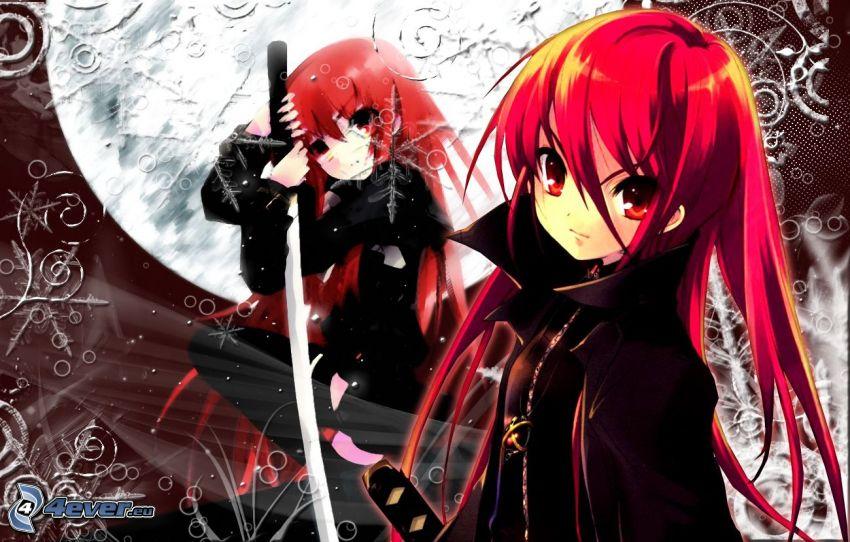 Shakugan no Shana, rödhåring, anime flicka, katana