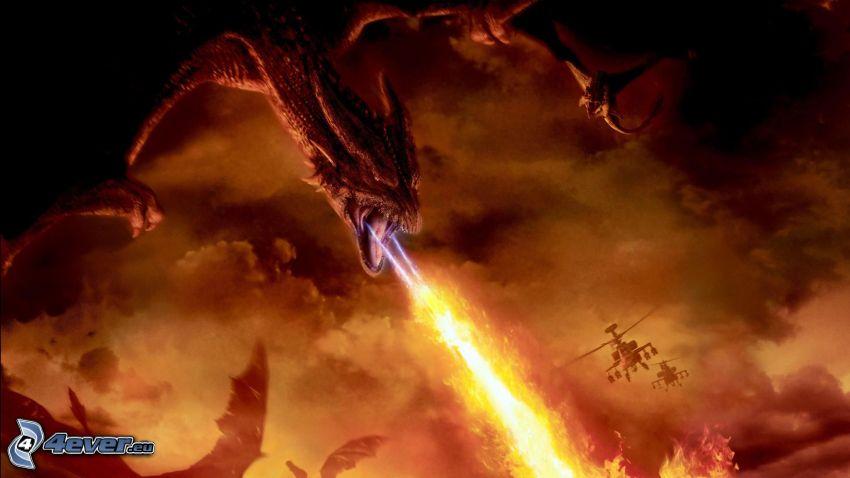 svart drake, eld, militära helikoptrar