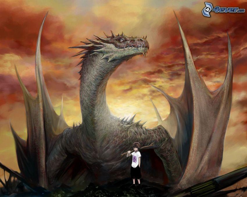 svart drake, pojke