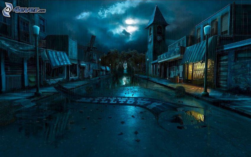 tecknad stad, gata, regn, nattstad