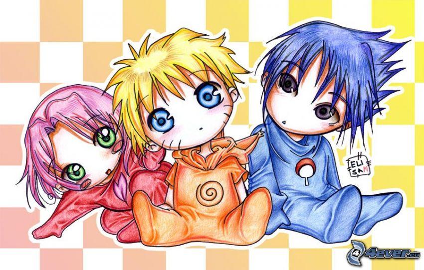 tecknade barn, Sakura, Naruto, Sasuke