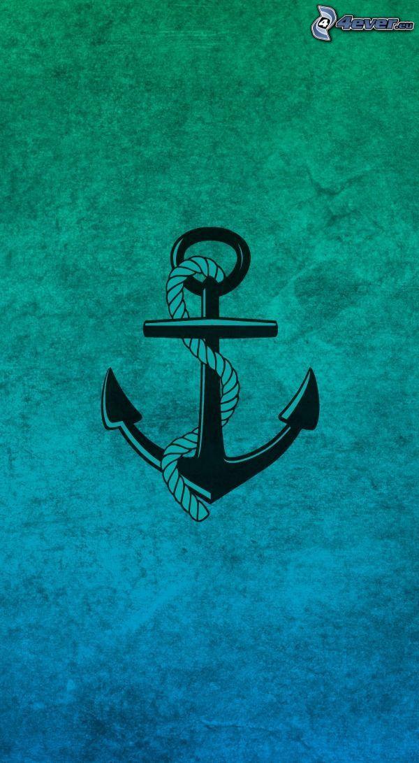 ankare, blå bakgrund