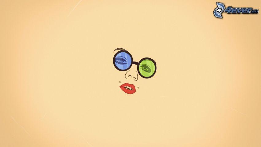 ansikte, glasögon