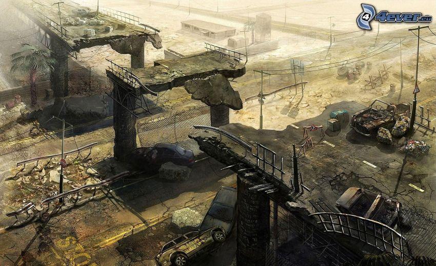 apokalyps, förstörd bro, krasch