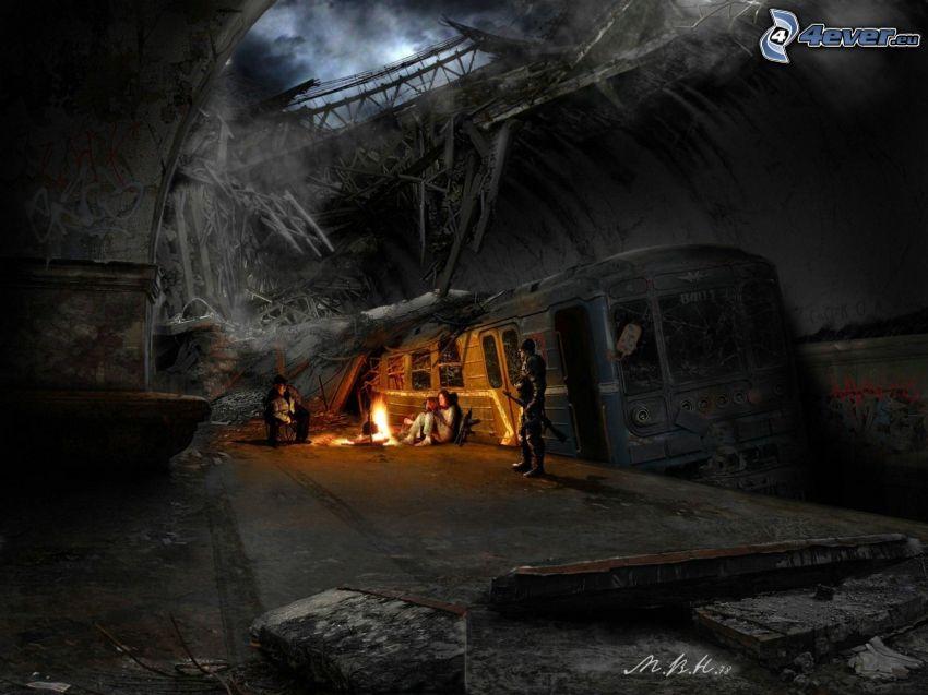 apokalyps, tunnelbana, postapokalyptisk stad