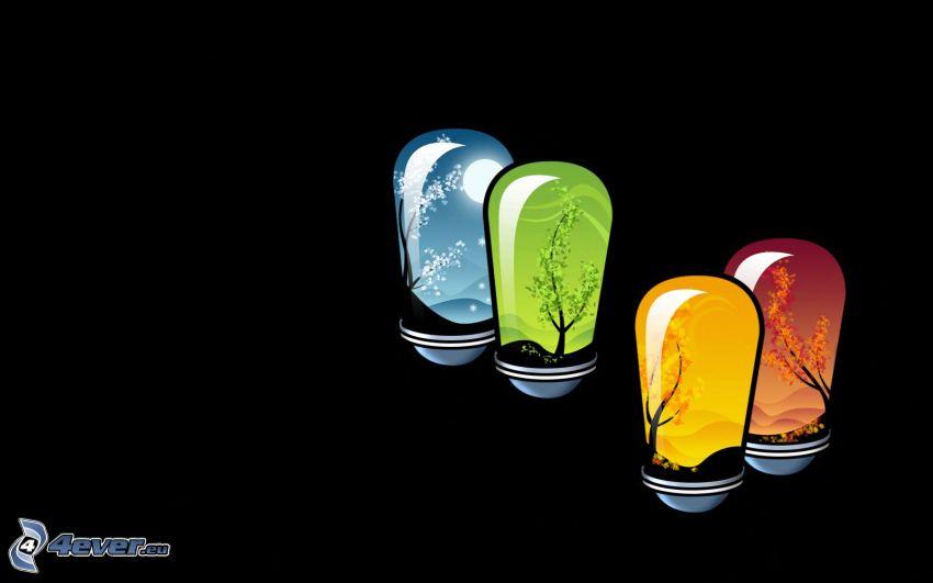årssäsonger, glödlampor