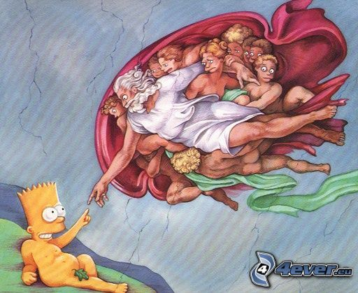 Bart Simpson, gud, Michelangelo, beröring, parodi