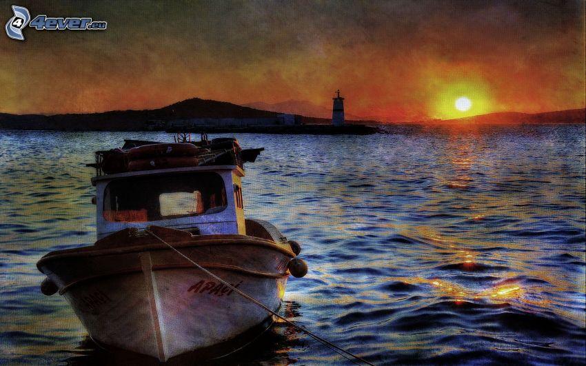 båt, solnedgång över sjö, fyr