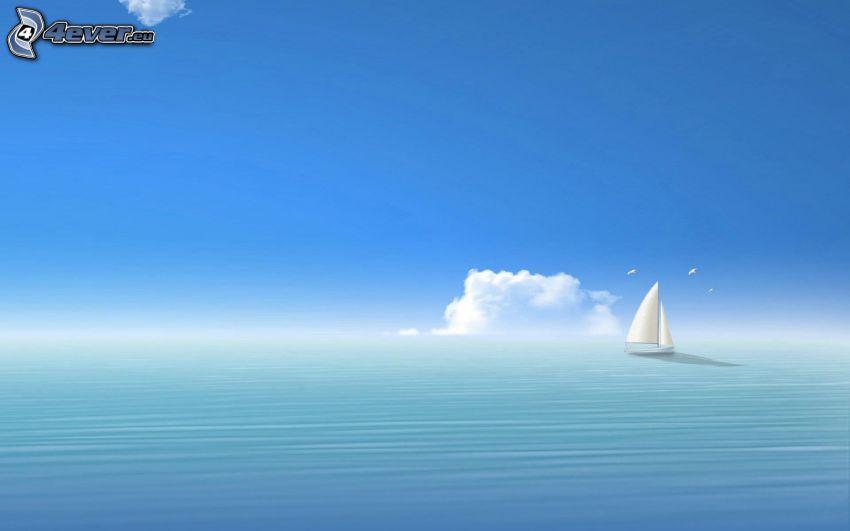 båt på havet, moln