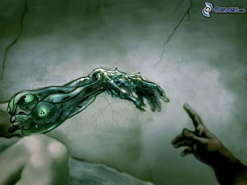 beröring, händer, mekanisk arm, Michelangelo, parodi