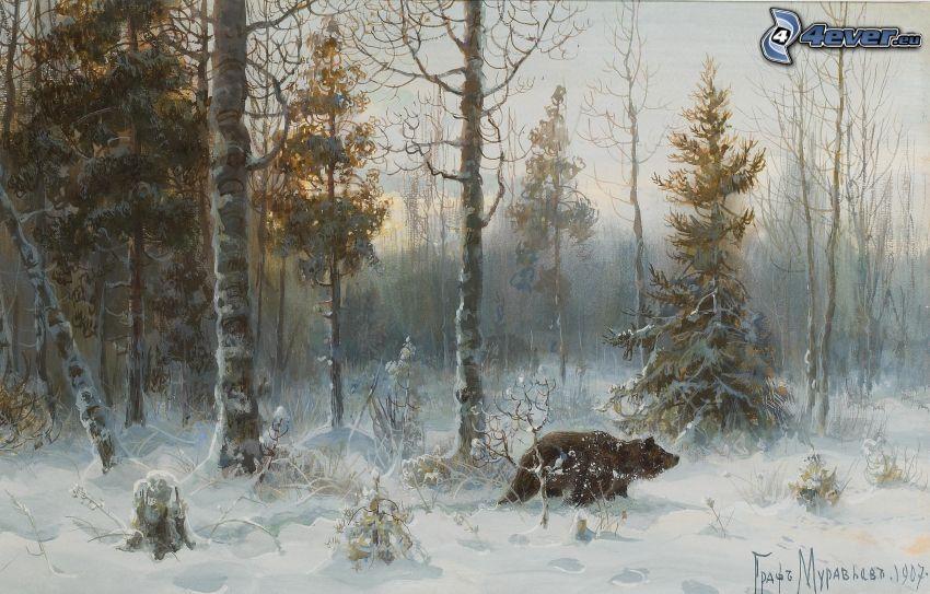 björn, snöig skog
