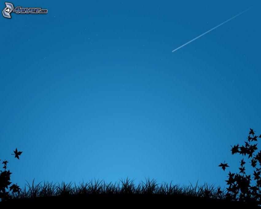 blå himmel, kondensationsspår, gräs