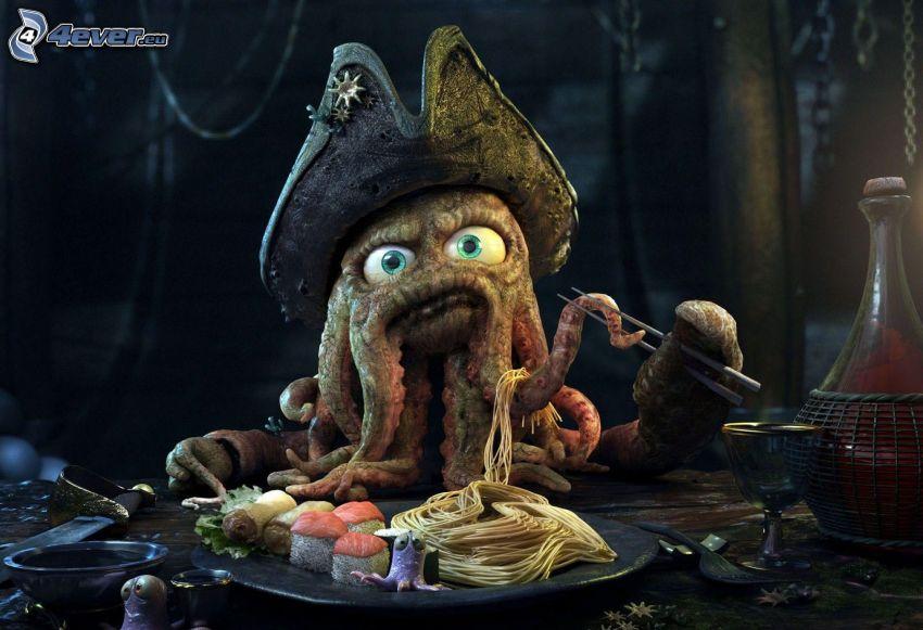 bläckfisk, mat, spaghetti