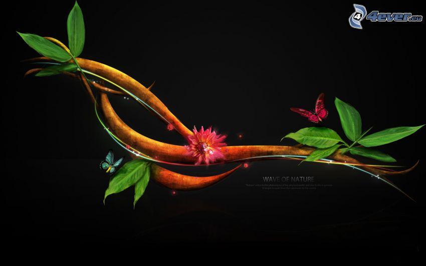 blommande kvist, fjärilar