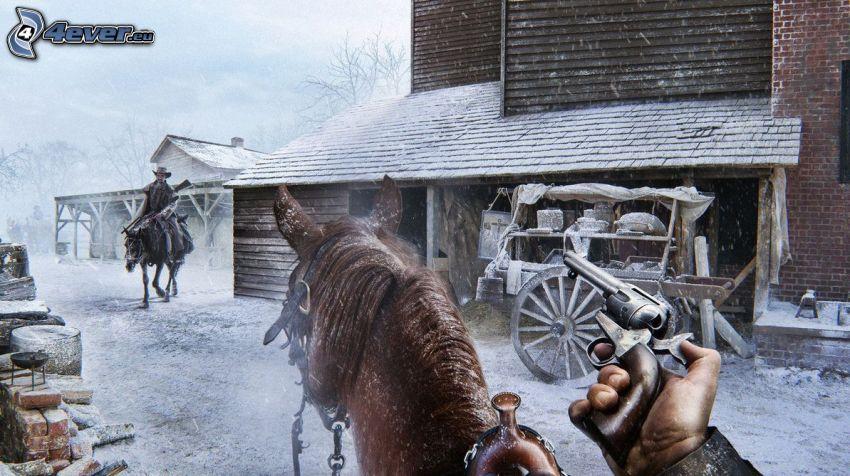 cowboy, hand, pistol, brun häst, hus, snö