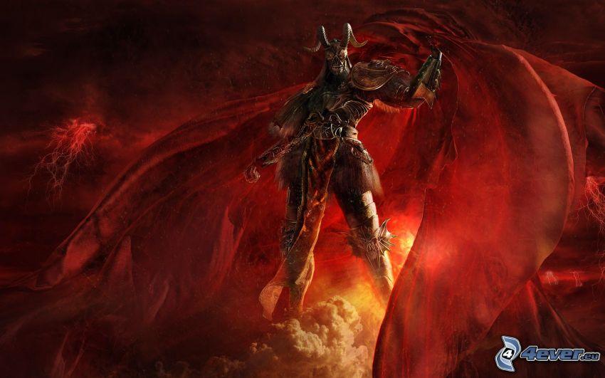 demon, djävulen, mörker, ondska, mantel, horn