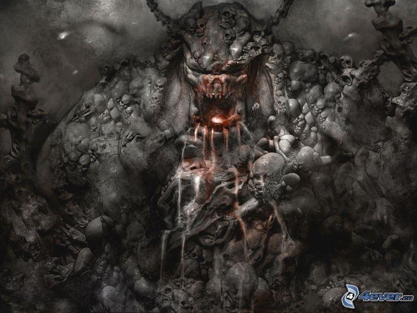 demon, monster, ondska, dödskalle, död