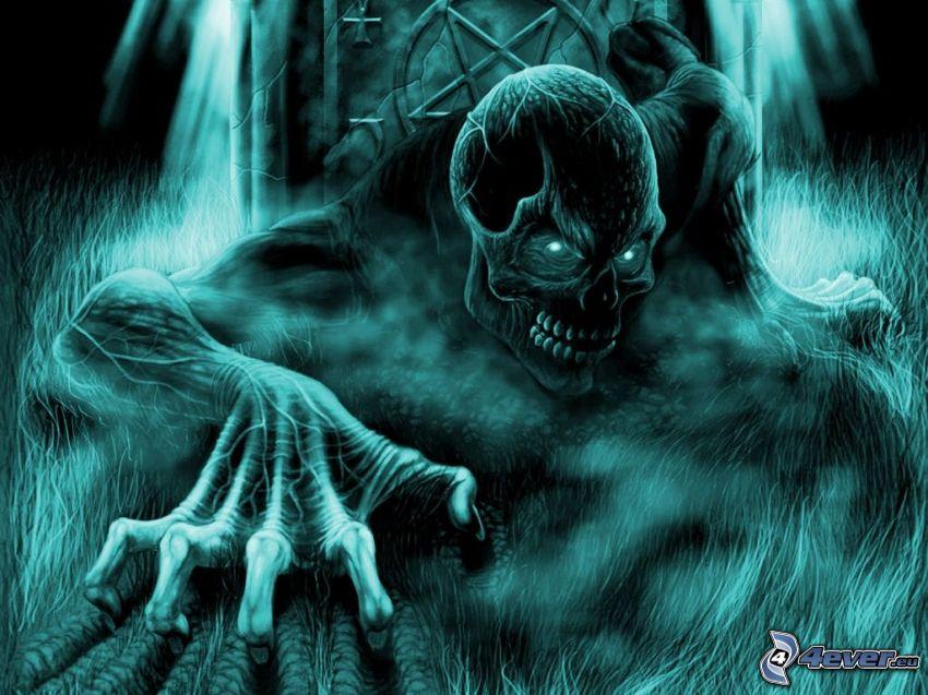 djävulen, demon, monster, dödskalle, spöklik figur