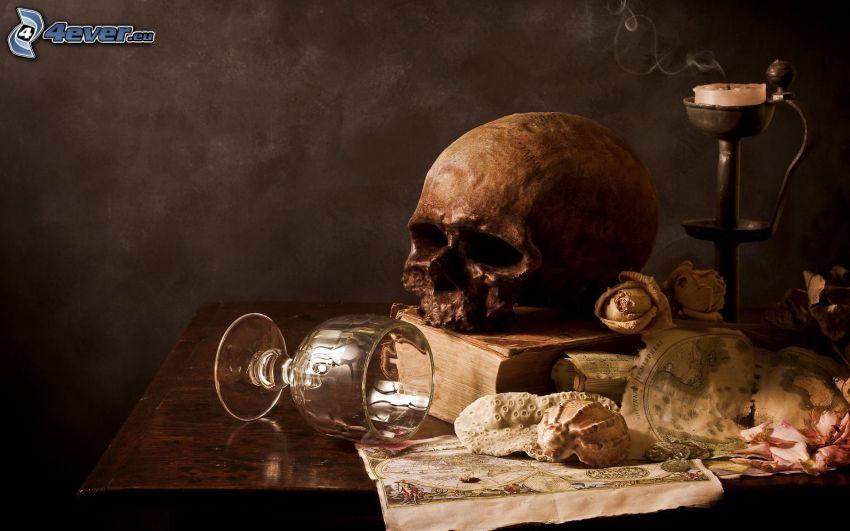 död, dödskalle, bord, ljusstake, glas