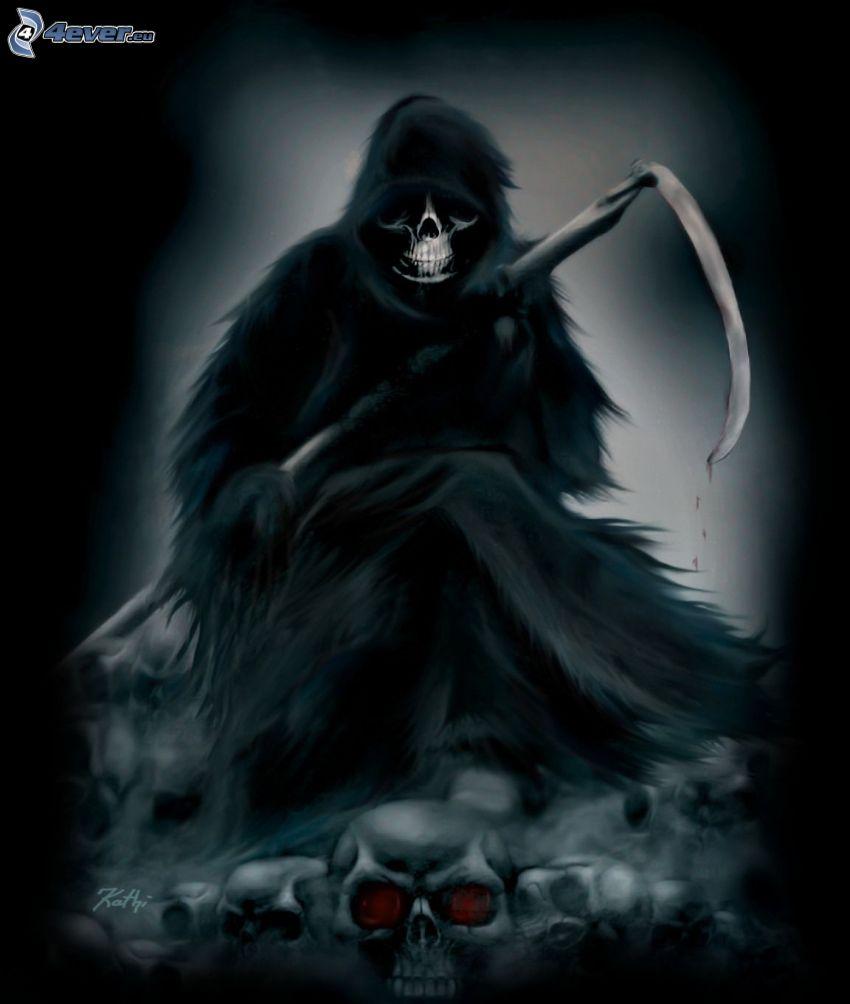 Döden, dödskallar, lie