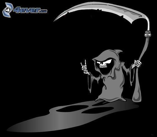 Döden, dödskalle, skelett, död, lie
